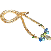 Dazzling Cluster of Gems Necklace with Citrine Center