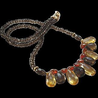 Smoky Quartz, Citrine and Mandarin Garnet Gemstone Necklace