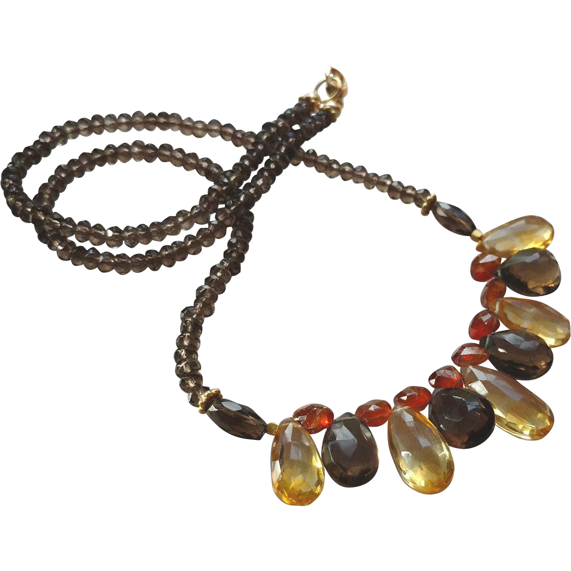 Smoky Quartz, Citrine and Mandarin Garnet Gemstone Necklace