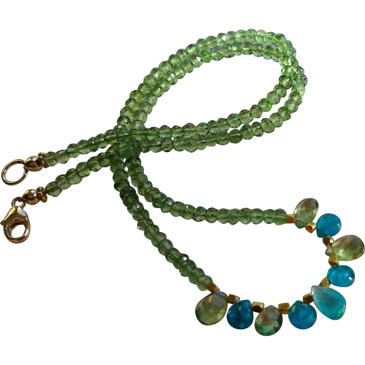 Green Apatite Gemstone Necklace with 14k Gold Fill