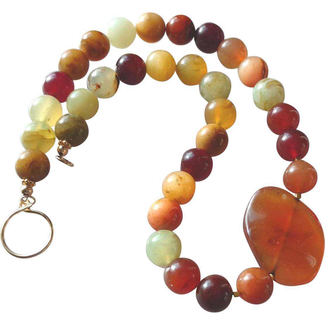 Gemstone Statement Necklace with Carnelian Center