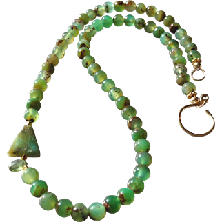 Chrysoprase Gem Necklace with Peruvian Opal and Green Apatite Details