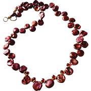 Freshwater Cultured Pearl Necklace with Mozambique Garnets and 14k Gold Fill