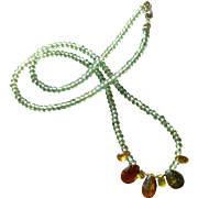 Green Apatite Gem Necklace with Tunduru Sapphires and Sterling Silver