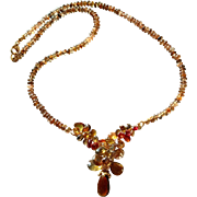 Tunduru Sapphire Jewelled Center in Andalusite Necklace with 14k Gold Fill