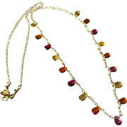 17 Jewel Sapphire Gemstone Necklace with 14k Gold Fill