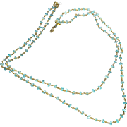 Light Blue Chalcedony Gem Chain Necklace