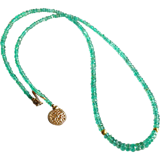 Columbian Emerald Gemstone Necklace with 20k Gold