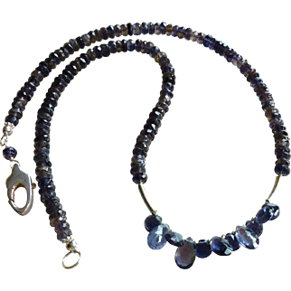 Mystical Midnight Iolite Gemstone Necklace with Sterling Silver