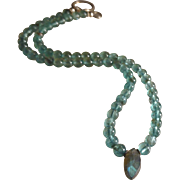Apatite Gemstone Necklace with Labradorite Center
