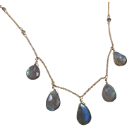 Labradorite 5 Jewel Necklace with 14k Gold Fill