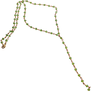 "Green Zircon Gemstone Chain ""Y"" Necklace"