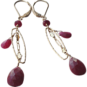 Ruby Gemstone Dangle Earrings with 14k Gold Fill