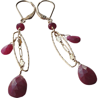 Ruby Gemstone Dangle Earrings with 14k Gold Fill
