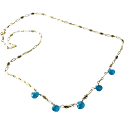 Neon Blue Apatite Necklace with 14k Gold Fill
