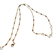 Herkimer Diamond Gemstone Necklace with 14k Gold Fill Chain