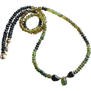 Vivid Green and Black Tourmaline Necklace