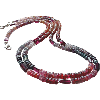 Pair of Multi-Colored Spinel and Garnet Gemstone Necklaces