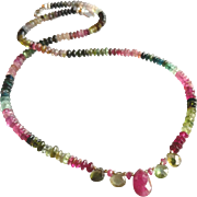 Tourmaline Gemstone Necklace, Greens and Pinks with Sterling Silver