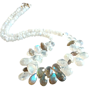 Rainbow Moonstone and Labradorite Gemstone Necklace