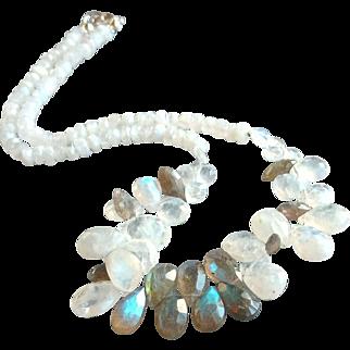 Rainbow Moonstone and Labradorite Gemstone Necklace