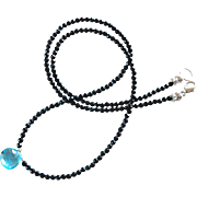 Black Spinel Gemstone Necklace with Swiss Blue Topaz Jewel