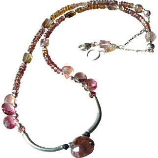Rare Colors of Tourmaline Gemstone Necklace with Sterling Silver Extender Included