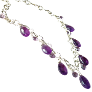 Royal Amethyst Gemstone Necklace with Sterling Silver