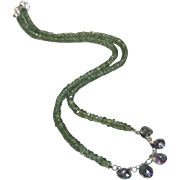 Green Apatite Gemstone Necklace with Mystic Topaz Gem Center