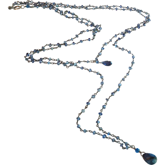 Iolite Gem Long Chain Double Necklace with Midnight Blue Sapphire