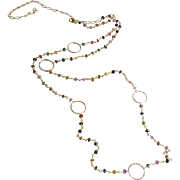 Tourmaline Gem Chain Necklace with 14k Gold Fill Circles