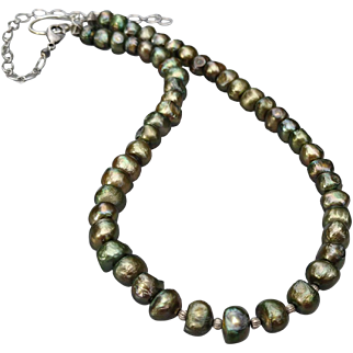 Diva-Sized Olive Green Freshwater Cultured Pearls in Variable Length Necklace