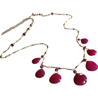 Glamorous Ruby Gemstone Necklace and Earring Set with 14k Gold Fill