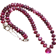 Ruby Colored Moonstone Gem Necklace with Pink Sapphire Center