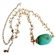 Statement Necklace: White Opal Gems with Turquoise Center