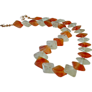 """Exquisite """"Mermaid Cut"""" Carnelian and Prehnite Gemstone Necklace with 14k Gold Fill"""