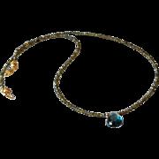 Dazzling Very Fine London Blue Topaz and Sparkling Labradorite Gemstone Necklace