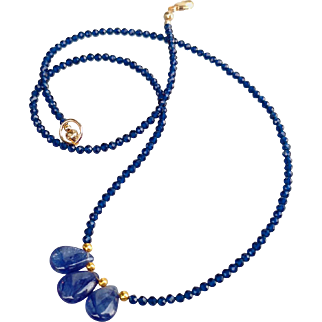 Radiant Blue Sapphire Gem Necklace with 20k Gold Beads in Front and 14k Gold Fill Clasp