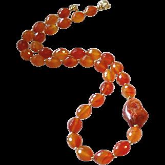 Brazilian Carnelian Gemstone Necklace with 14k Gold Fill