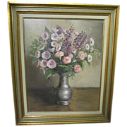 Very Lovely Vintage Floral Oil Painting! FREE SHIPPING!