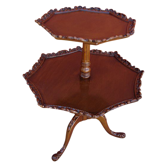 Lovely Vintage  Mahogany Two Tier Carved Accent Table!