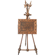 Carved Antique Desk on Easel Stand with Sword Finials