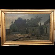 Danish Antique Oil Painting Signed Marie Duplau 1884