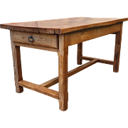 French Antique Butcher Block Table with Drawers