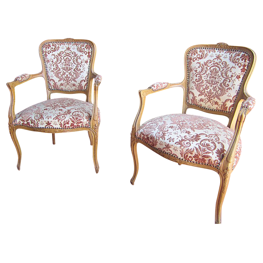 Antique Furniture Pair of  French Antique Carved Chairs Armchairs!