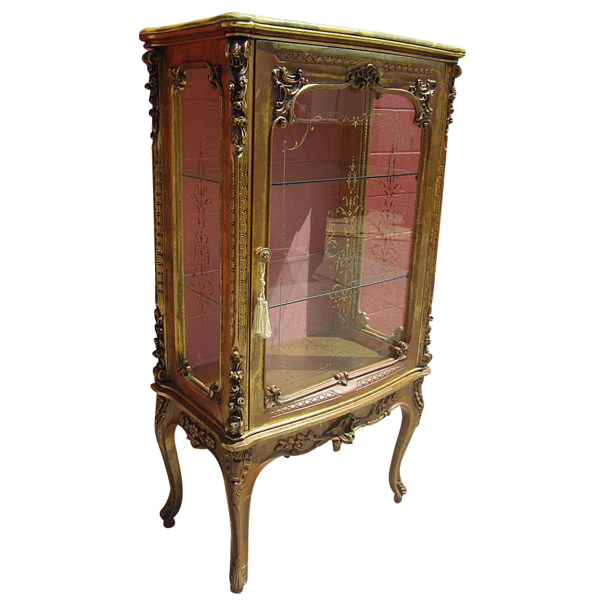 Italian antique carved display case china cabinet vitrine for Antique display cabinet