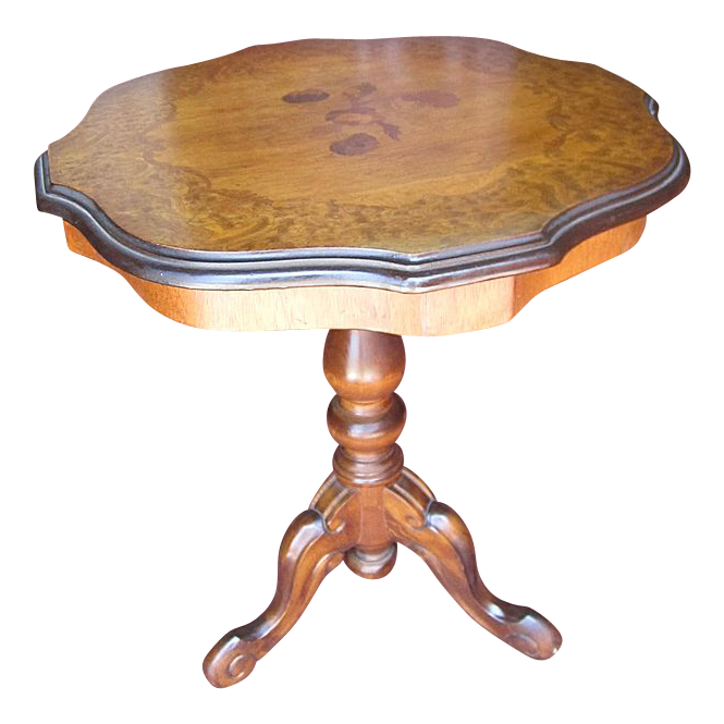 Italian Antique Round Inlaid Accent Table!