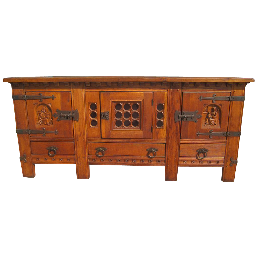 french antique rustic sideboard cabinet with iron accents antique sold on ruby lane. Black Bedroom Furniture Sets. Home Design Ideas
