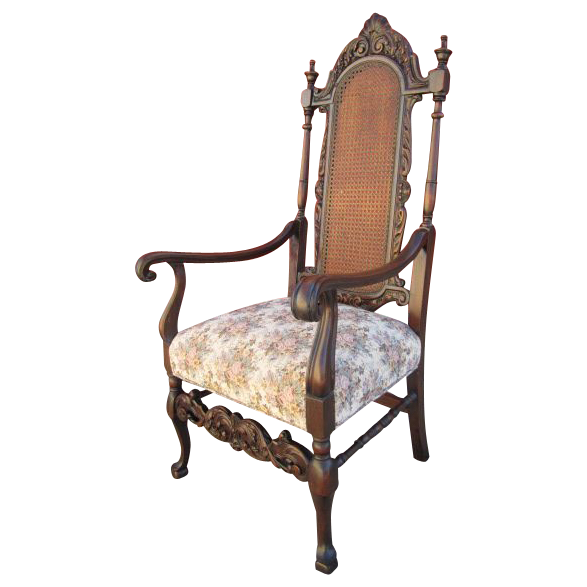 Antique Bishop's Throne Cane Back Chair Armchair Antique Furniture