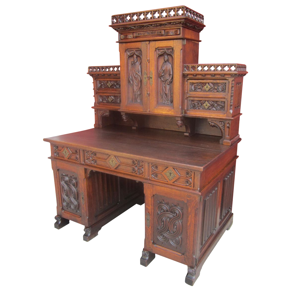 French antique gothic desk antique furniture sold on ruby lane for Antique furniture desk